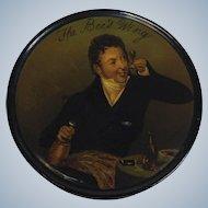 The Bee's Wing Papier Mache Snuff Box Gentleman Drinking Wine 19th c.