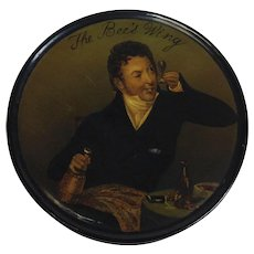 The Bee's Wing Papier Mache Snuff Box Gentleman Drinking Wine 19th c.