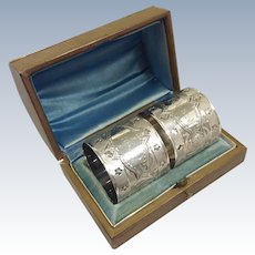 Pair American Coin Napkin Rings Boxed