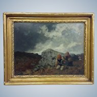 French Tribesmen Landscape by Luminais 19th c