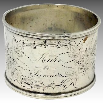 Engraved Floral American Silver Napkin Ring
