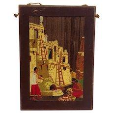 Native American Pueblo Scene Wood Plaque Fred Harvey Shop