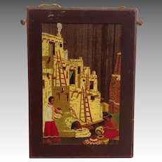 Native American Pueblo Scene Wood Plaque Fred Harvey Shop