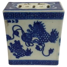 Blue and White Chinese Porcelain Pillow 19th c