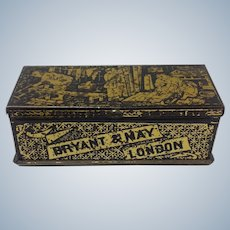 English Tole Match Box Bryant and May London 19th Century
