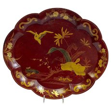 "Red Lacquer and Gilt Water Bird Tray 14"" Continental 19th c."