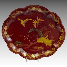 """Red Lacquer and Gilt Water Bird Tray 14"""" Continental 19th c."""