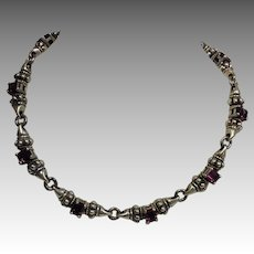 Pink Tourmaline Sterling 18k Glacier Style Necklace