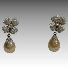 Pearl Crystal Flower Dangle Italian Silver Earrings