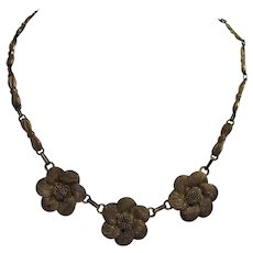 Theodore Fahrner Flower Necklace Sterling