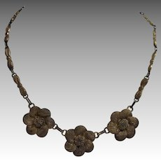 Theodore Fahrner Flower Necklace Sterling