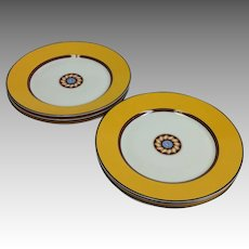 Puiforcat Limoges Pompei Yellow Luncheon or Dessert Plates
