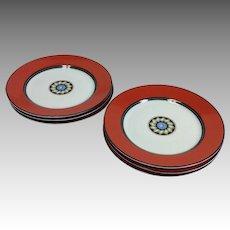 """Puiforcat Pompei Red Limoges 8"""" Salad Plates"""