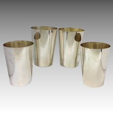 Four Tiffany Sterling Bar Tumblers or Juleps