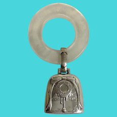 Sterling Silver Baby Rattle with Ring