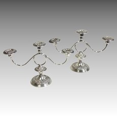 Pair Kirk Repousse Candelabra Sterling