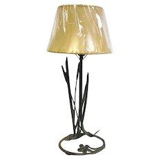 Antique Cattails Lamp by Robert Garret Thew Verde Bronze Circa 1929