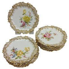 Group of Gilt Rococo Floral Limoges Plates Dozen 9 3/8""