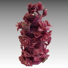 Chinese Chrysanthemum Rhodochrosite Covered Vase 19th c