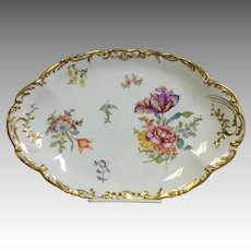 """Limoges Floral Platter Hand Painted Oval 11 3/4"""" Circa 1896"""
