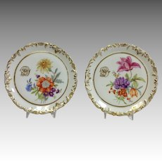 """Pair Limoges Tiles Hand Painted Floral 7"""""""