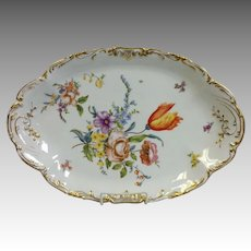 """Limoges Floral Hand Painted Huge Oval Platter 17 7/8"""""""
