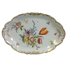 Limoges Floral Hand Painted Huge Oval Platter 17 7/8""