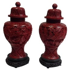 Pair Antique Chinese Red Cinnabar Urns Qing Dynasty  1900