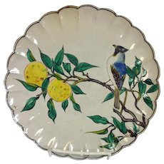 Japanese Kutani Bird and Lemon Plate Signed
