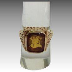 Citrine Lady Intaglio Seal Ring 14K