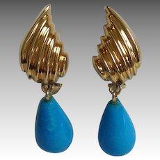Sleeping Beauty Turquoise Earrings 14 Karat