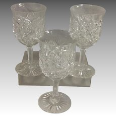 Three Libby American Brilliant Period Cut Glass Goblets Signed