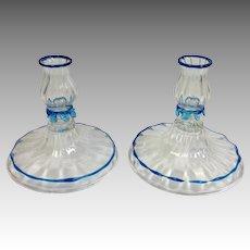 Pair Venetian Candlesticks Clear and Blue
