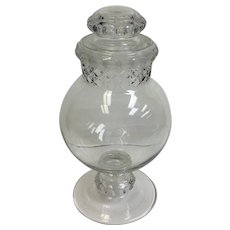Large Clear Glass Candy Jar Blown Molded 19th c.