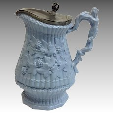 """Staffordshire Blue Berry Pitcher Pewter Top 10 1/2"""""""