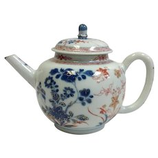 Chinese Export Teapot Red and Blue Floral 18th Century