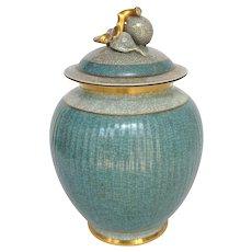"Craqueline Covered Jar by Thorkild Olsen  Royal Copenhagen 9 1/2"""