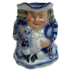 English Toby Jug Flow Blue Staffordshire Early