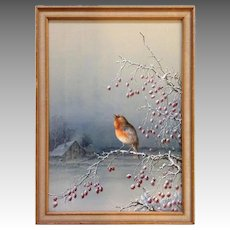 Henry Bright Bird on Berry Branch British Watercolor 19th c.