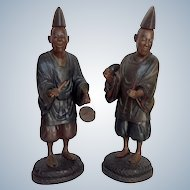 Pair of Shinto Priests Figures Japan 19th c