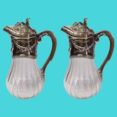French Claret Jugs Pair by A. Risler and Carre Paris 1st Standard Silver