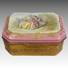 Courting Couple Painted Porcelain Box France