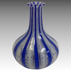 Lutz Latticino Bottle Vase 19th c.