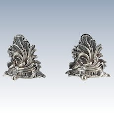 Pair of French Menu Holders Ornate Sterling Antique