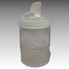 Frosted Lion Sugar Bowl Gillander 1880's