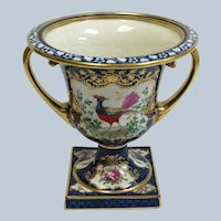 """Early English Staffordshire Urn Fowl and Floral Cobalt  6"""""""