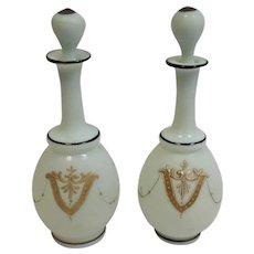 Pair Bristol Glass Enameled Perfumes 19th c