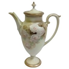 R.S. Prussia Satin Finish Roses Coffee Pot