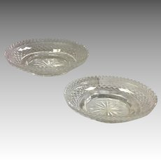 Pair Anglo Irish Cut Glass Dessert Baskets 19th c