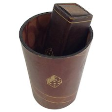 Vintage Poker Dice Set and Cup Italian Leather